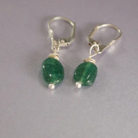 Emreald Green Stone Earring, Dangle, Everday Jewelry, Gift for Her, Silver, Small Oval Rectangular Carnelian Gemstone