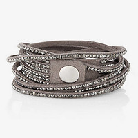 FAUX SUEDE RHINESTUD DOUBLE WRAP BRACELET from EXPRESS