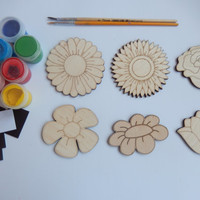 6 Flower Wood Craft Shapes for Coloring.DIY Kits. Handmade Craft Supply.Easy Kids Craft Set.Flower Cutouts.Simple Kids Crafts016