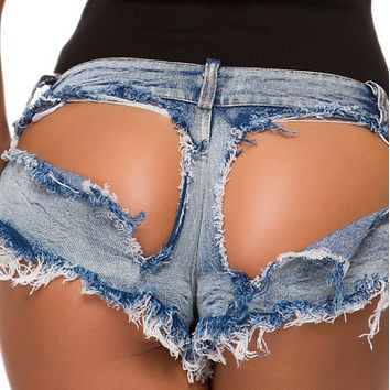 Hot sale sexy low-rise sexy ripped denim shorts