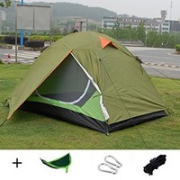 Luxetempo 2 Person Lightweight Camping and Backpacking Tent with UV coating-2 Doors 2 Vestibules Water Resistant with Rainfly Green