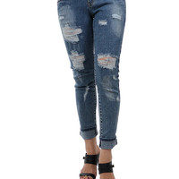 Heavy Destroyed Ankle Skinny Denim Jeans
