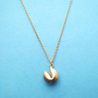 Fortune cookie, Gold, Necklace