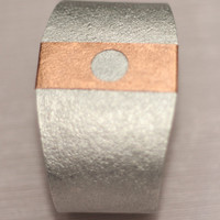 Aluminium Silver Cuff Bracelet with Copper Strip, Mothers Day Gift