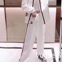 """Gucci"" Woman Leisure Fashion Letter Embroidery Printing Spell Color Stripe Long Sleeve Trousers Two-Piece Set Casual Wear"