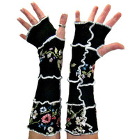 Black Arm Warmers, Embroidered Arm Warmers, Upcycled Clothing, Upcycled Arm Warmers, Black Fingerless Gloves, OOAK Embroidered Gloves, Boho