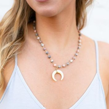 Beaming Blush Beaded Horn Necklace