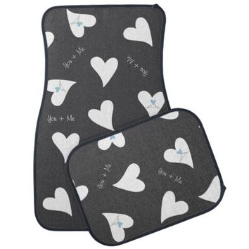 Cute white birds in love girly car floor mat - You + Me - Personalize this car accessory with your text!