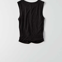AEO Soft & Sexy Twist Muscle Tank , True Black