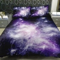 Anlye Galaxy Quilt Cover Sets(Satin Fabric) Contain 1 Twin Galaxy Duvet Cover(No Comfoter) 1 Twin Galaxy Top Sheets(Not Fitted Sheet) 2 Galaxy Pillow Cover