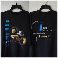90s Garth Brooks Double Sided Black Tour T-Shirt // Country Music, Cowboy Hipster Grunge Style, David Carson Inspired Text Graphics // XL