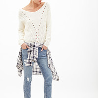 FOREVER 21 Off-the-Shoulder Knit Sweater