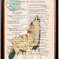 Howling Wolf Drawing Beautifully Upcycled Vintage Dictionary Page Book Art Print, Forest Wildlife Print