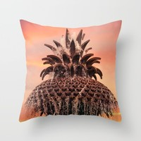 Pineapple Fountain Pink Throw Pillow by Legends Of Darkness Photography