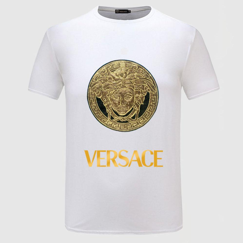 Image of Versace Bronzing Embroidery Woman Men Fashion Scoop Neck Tunic Shirt Top Blouse