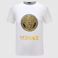 Versace Bronzing Embroidery Woman Men Fashion Scoop Neck Tunic Shirt Top Blouse