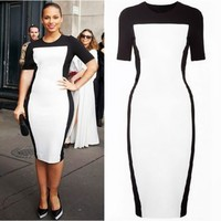 Women's Short Sleeve Knee Length Midi Dresses Sheath Fit Color Block Vintage 1IB