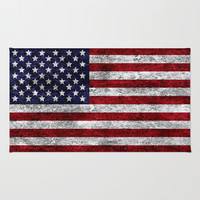 USA Grunge Flag Rug by Alice Gosling
