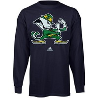 adidas Notre Dame Fighting Irish Youth Secondary Logo Long Sleeve T-Shirt - Navy Blue