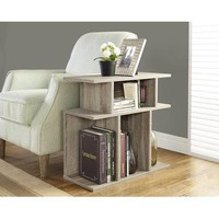 Monarch Specialties Dark Taupe Reclaimed-Look Accent Side Table I 2476