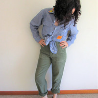 Vintage 60s 70s High Waist Army Olive Green/ Button Fly/ Uniform Straight Leg Pant