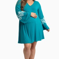 Jade-Floral-Accent-Bell-Sleeve-Plus-Size-Maternity-Dress