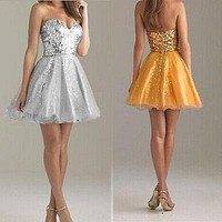Strapless Beaded Women Sequin Mini Dresses Party Ball Gown Dress Gold Silver