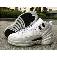 "Air Jordan 12 ""Barons while/black Basketball Shoes 36-40"