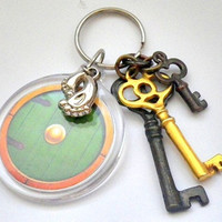 Lord of the Rings / The Hobbit: Bilbo Baggins' door w/ JRR Tolkien quote or personalized name initials keychain bag tag