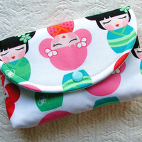 Large Snap Pouch ... Hello Tokyo Kawaii Girls in Rainbow