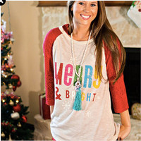 Merry and bright lace raglan