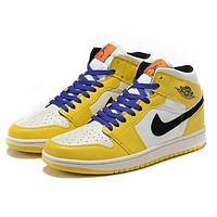 NIKE AIR JORDAN1 Mid New fashion hook couple shoes Yellow