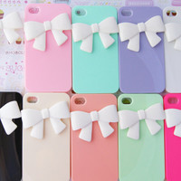 YOU CHOOSE Pastel Ribbon Bowtie Candy Colors Iphone 4 4s Rainbow Designer Elegant Decoden Cell Phone Case