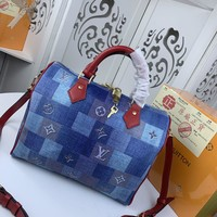 Kuyou Gb229916 Lv Louis Vuitton M40391 Lv Patchwork 2020 Handbag Top Handle 30x21x17cm
