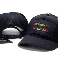 Navy Blue BALENCIAGA Baseball Cap Hat Sports Workout Stylish