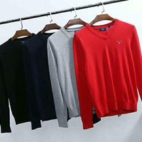ONETOW GANT Men Fashion Pure Color Long Sleeve Knit Pullover Sweater G-G-JGYF