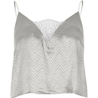 Grey jacquard cami pyjama top