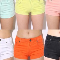 Candy Colored Elastic Hot Cotton Shorts for Summer