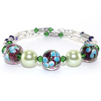 Green Floral Bracelet – Blue Flower Memory Wire Wrap Bracelet – Stackable Bangle – Bracelet for Mom