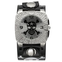 Skull & Crossbones Star With Silver Background Band Watch