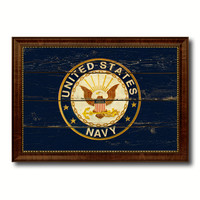 US Navy Seal Military Flag Vintage Canvas Print with Brown Picture Frame Gifts Ideas Home Decor Wall Art Decoration
