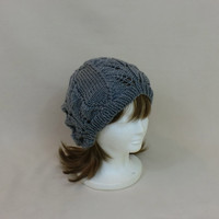 Grey Slouchy Beanie Lace Hat Baggy Knit Large Slouch