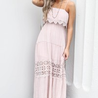 Day Moves Blush Crochet Maxi Dress