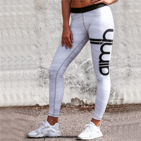 Hot Sale Women's Fashion Pants Print Alphabet Yoga Sports Leggings [10468588358]