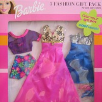 Barbie 3 Fashion Gift Pack - Glamour Gown & Cool Casuals! (1999 Arcotoys, Mattel)