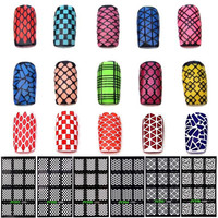 1 Sheet DIY Fashion Women Nail Vinyls Nail Art Manicure Stencil Stickers Stamp Template Decals Tool Nice