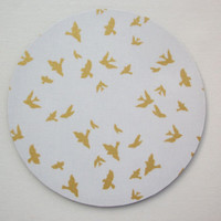 Round Computer Mouse Pad / Mat - metallic gold birds on hot white