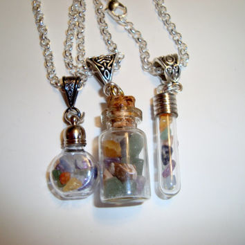 Chakra Gemstone Pendants In a Bottle - Choice of Bottle Style - Seven Gemstones - Good for Relaxation, Meditation, Love, Expression, Power