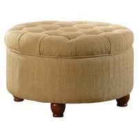 Tweed Tufted Storage Ottoman - Tan/Cream