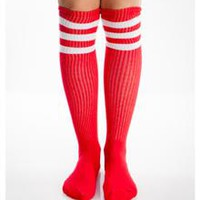 Red And White Athletic Stripe Knee High Socks